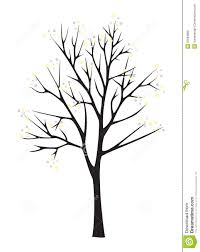 black tree silhouette on white background royalty free stock