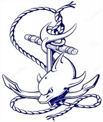 blue ink dolphin swimming nead huge roped anchor tattoo design