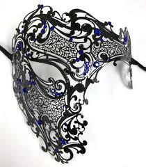 mens venetian mask black blue phantom laser cut venetian mask masquerade metal men