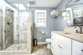 blue and beige bathroom bathtub to shower conversion budget dumpster bathtub in shower
