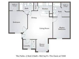 Two Bedroom Apartments In Florida 2 Bedroom Apartment Floor Plans U0026 Pricing U2013 The Oasis At 1800