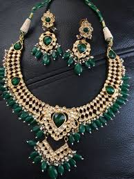 gold diamond emerald necklace images 22k solid real gold kundan diamond polki emerald necklace earring jpg
