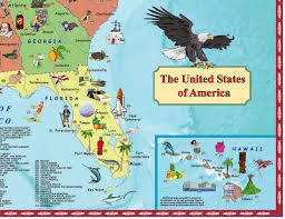 Fort Lauderdale On Map Illustrated Map Of The Us For Kids Laminated Children U0027s Wall Map