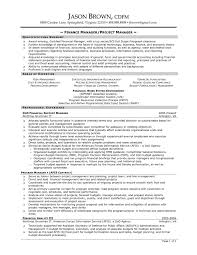 Resume Template Project Manager Adorable Project Finance Resume Example On Project Finance Resume