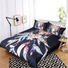 Cow Duvet Cover Black Floral Cow Skull Dream Catcher Doona Set U2013 Salty Gypsy Co