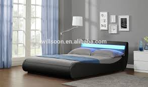 curved line double size faux leather light soft pu led bed 1109 1