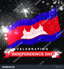 Cambodia Flag Independence Day Fireworks Cambodia Flag Concept Stockillustration