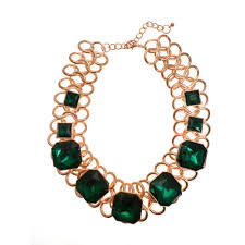 emerald green fashion necklace images Gold style link statement necklace with emerald green stones green jpg