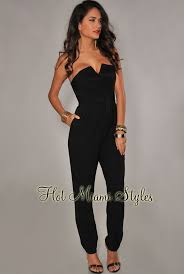 strapless jumpsuit black black strapless jumpsuit