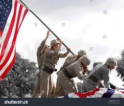 Flag Iwo Jima Reenactment Iwo Jima Flag Raising During Stock Photo 8855263