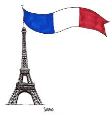 eiffel tower and french flag illustration by m wood eliston button