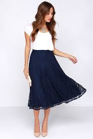 high waisted skirt pretty navy blue skirt midi skirt lace skirt high waisted