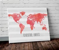 Wall Art World Map by Watercolor Coral World Map Wall Art Project Cottage