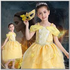 2018 kid princess belle dress beauty and the beast halloween