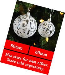 white swirl shatterproof ornaments tree decoration