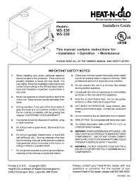 heat u0026 glo fireplace ws 250 user manual 27 pages also for ws 150
