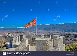 Macedonian Flag Macedonian Flag On Samuel U0027s Fortress With Ohrid In Background