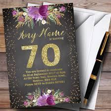 Personalised Birthday Invitation Cards Chalk Watercolour Purple Gold 70th Personalised Birthday Party