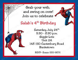 Create Birthday Invitation Card Online Spiderman Birthday Invitations Kawaiitheo Com