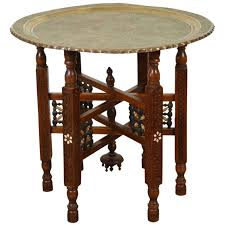 Persian Furniture Store In Los Angeles Antique Persian Brass Tray Side Table At 1stdibs