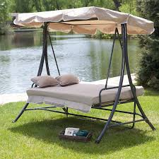Hanging Patio Swing Chair Amazon Com Canopy Patio Porch 3 Person Swing Lounger Chair And