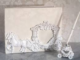wedding guest book set white cinderella enchanted royal carriage wedding guest book pen