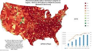 map us colleges graduate map shows increase in us adults going to college and
