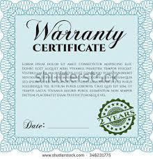 sample warranty certificate template sample text stock vector