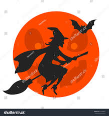 witch flying over moon silhouette halloween stock vector 314328605
