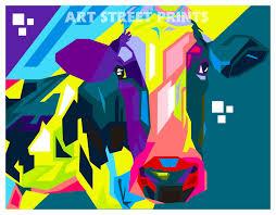 pop art cow colourful home decor quality framed canvas print wall