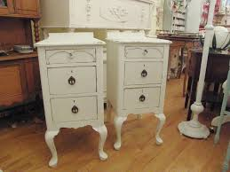 bedroom cool shabby chic white nightstand pair by