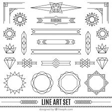 ornaments in deco style set free vectors ui