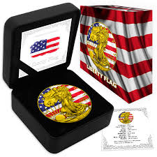 Reverse Color American Flag Liberty Flag 2016 1 Oz American Silver Eagle Coin Color And