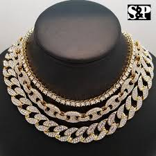 necklace choker chain images Hip hop iced out gold pt 18 quot cuban gucci 1 row tennis choker chain jpg