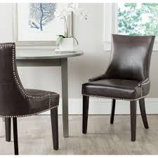 safavieh lester antique brown bonded leather dining chair set of