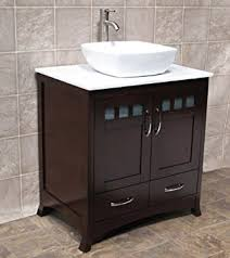 Amazoncom  Bathroom Solid Wood Vanity Cabinet Ceramic Top - Bathroom wood vanities solid wood