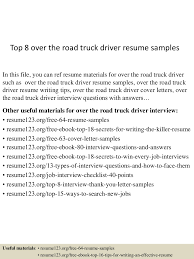 Resume Samples Truck Driver by Top8overtheroadtruckdriverresumesamples 150529092211 Lva1 App6892 Thumbnail 4 Jpg Cb U003d1432891374