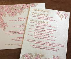 wedding invitation program letterpress asian indian paisley wedding invitation program