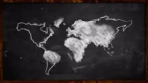 world sketch white painting on blackboard looping animation motion