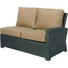 outdoor modern black wicker patio loveseat with brown cushion cover