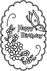 happy birthday flower butterfly coloring page wecoloringpage