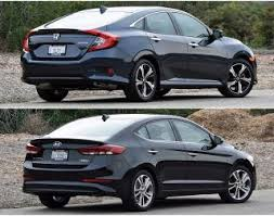 honda civic or hyundai elantra 2016 honda civic and hyundai elantra photos to