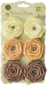 fabric flowers fabric flowers w gems 1 75 to 2 6 pkg mocha