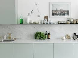 Small Kitchen Ideas Backsplash Shelves by Marble Slab Backspash Mint Green Flat Front Cabinet Doors