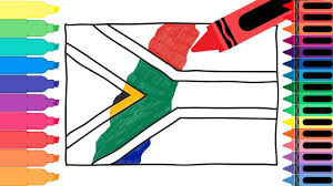 African Flag How To Draw South Africa Flag Drawing The South African Flag For