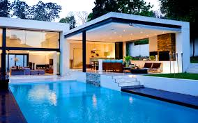 dining room modern pool house garden design with pool swimming