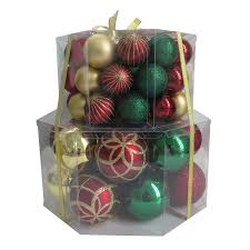 shop living 66 pack green gold ornament set at