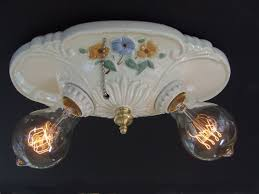 Vintage Porcelain Flush Mount Ceiling Light Fixture Rewired Ceramic Bathroom Flush Mount Light Fixtures