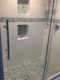 Niche Bathroom Shower Sliced Sea Green Pebble Tile Shower Floor And Niche Vinyl Flooring