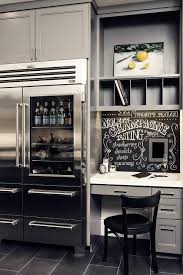 Small Desk Refrigerator Gray Kitchen Features A Gray Built In Desk Topped With White